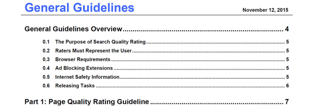 Google Search Quality General Guidelines for 2015