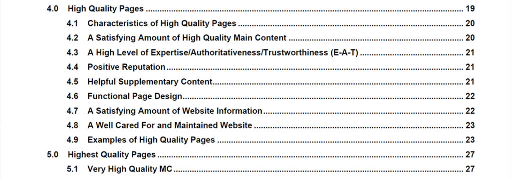 High to Highest Quality Pages